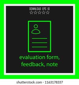 evalution form, feedback, note vector icon