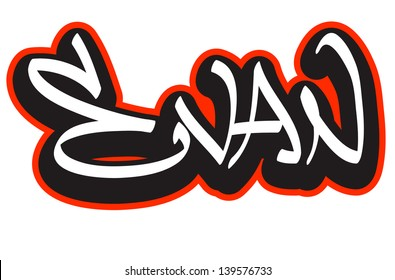 Evan Graffiti Font Style Name Hip Hop Design Template For T Shirt