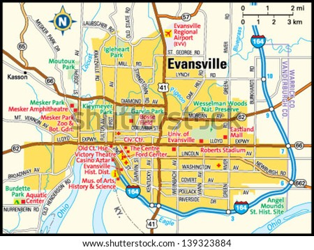 Casinos In Indiana Map.Evansville Indiana Area Map Stock Vector Royalty Free 139323884