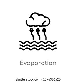 evaporation vector line icon. Simple element illustration. evaporation outline icon from technology concept. Can be used for web and mobile