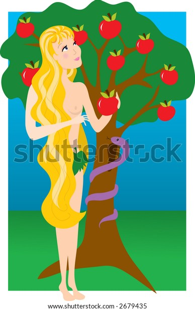 Eve in the Garden of Eden with the Snake