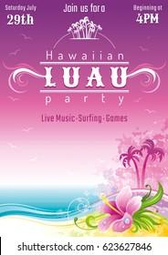 Evening beach sea flyer, hawaiian luau party. Watercolor hibiscus flower vector illustration. Aloha Hawaii design, summer holidays vacation banner. Vacation poster. Tropical island travel logo icon
