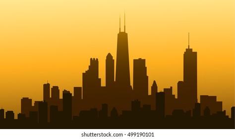 Evening Chicago Skyline - vector