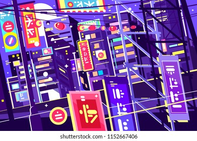 Evening chinese city. Bright neon signs, glowing streets. Vector illustration