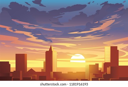 Evening city panorama, vector, sunset. Flat anime style