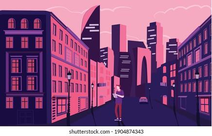 evening city in purple tones