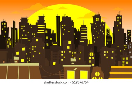 Evening cityscape vector illustration. Sunset landscape vector concept illustration