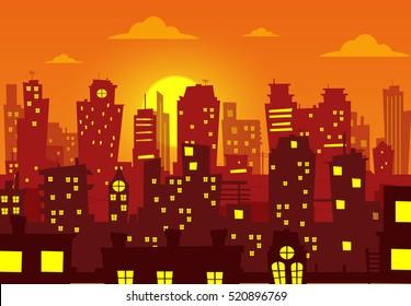 Evening cityscape vector illustration. Sunset landscape vector concept illustration
