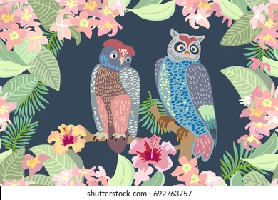 Evening garden and owls. Seamless vector print with birds, blooming flowers and palm leaves. Victorian motifs. On dark grey background.