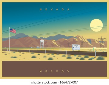 Evening landscape of Nevada, USA. Symbolic vector illustration of an interstate highway of the American South State