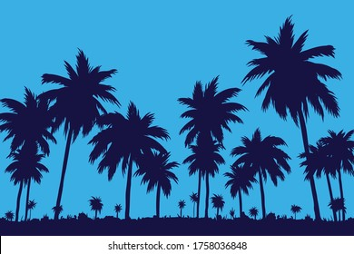 Evening on the beach with palm trees. Sunset in the palm forest. Vector illustration of EPS 10.