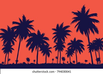 evening on the beach with palm trees