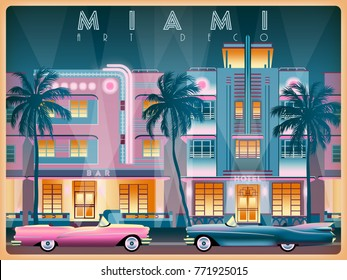 Evening on Ocean Drive in Miami, USA. Handmade drawing vector illustration. Art deco style. All buildings - customizable different objects.