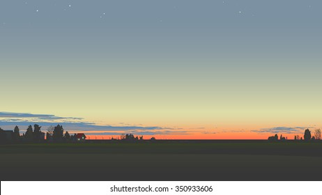 Evening panorama with sunset and stars.