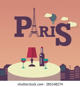 evening in Paris bistro . Flat vector french icons