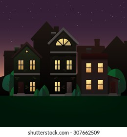 Evening scene illustration. Vector image with houses and trees in twilight.