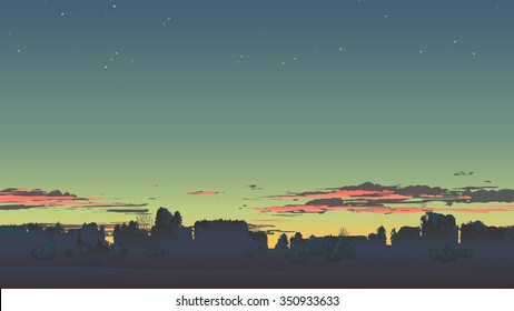 Evening scenery with sunset.