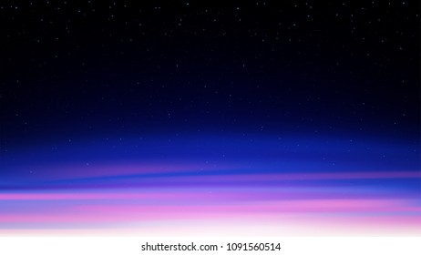 Evening shining starry sky, night blue cosmic background with stars, space, sunset sky