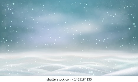 Evening snowstorm and snowy landscape, winter snowdrifts with flying snow. Vector.