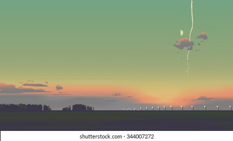 Evening sunset scenery with half moon and plane trail.