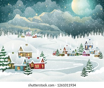 Evening village winter landscape with snow covered houses and mountains. Christmas holidays vector illustration