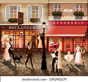 Evening walk on the street of Paris. Handmade drawing vector illustration in the style of the early 20th century. All items - easily scalable separate objects.
