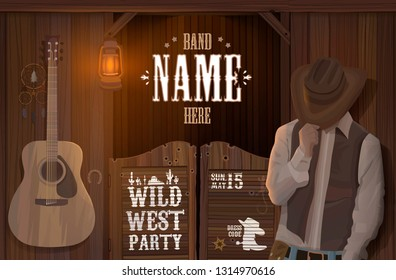 evening wild west saloon with cowboy