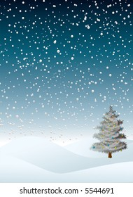evening winter snow flurry with a christmas tree that is decorated