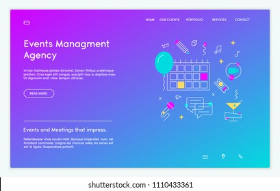 Event Agency website template. Vector illustration of wedding, gala, exhibition, conference.