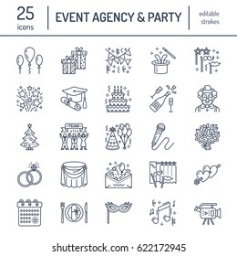 Event agency, wedding organization vector line icon. Party service - catering, birthday cake, balloon decoration, flower delivery, invitation, clown. Thin linear sign of entertainment, team building.