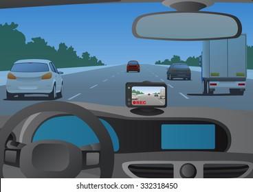 Event Data Recorder(Drive Recorder), vector illustration