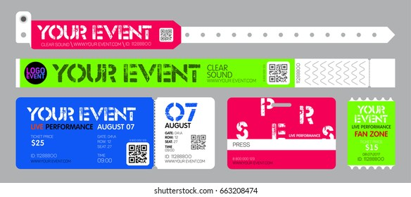 Event entrance ticket, and bracelets for live performance, access control design for dance, music festivals, private areas.