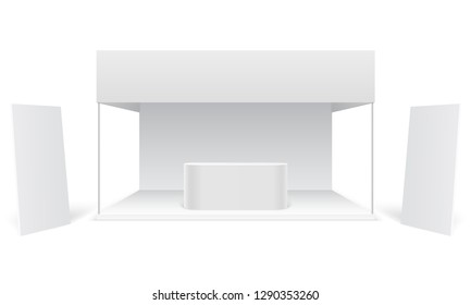Event exhibition trade stand. White promotional advertising booth, standing blank display banners. Marketing stall 3d vector mockup