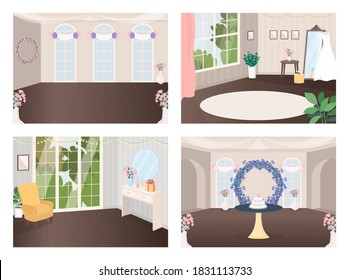 Event halls flat color vector illustration set. Preparation for ceremony. Banquet room. Wedding cake on table. Celebratory 2D cartoon interior with decoration on background collection
