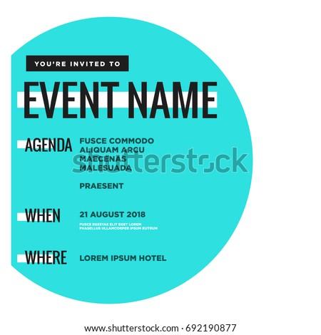 event invitation template agenda venue date stock vector royalty