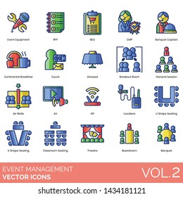 Event management icons including equipment, rfp, beo, cmp, banquet captain, continental breakfast, count, dressed, breakout room, general session, air walls, av, isp, lavaliere, seating, classroom.