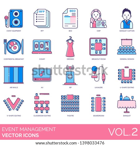 Event Management Icons Including Equipment Rfp Stock Vector (Royalty