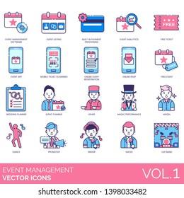 Event management icons including software, listing, built in payment, analytics, free ticket, app, online registration, rsvp, wedding, planner, usher, magic performance, model, dance, promoter, emcee.