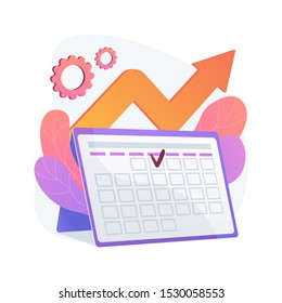 Event management. Performance efficiency, time optimization, reminder. Task and project deadline flat design element. Appointment date reminding. Vector isolated concept metaphor illustration