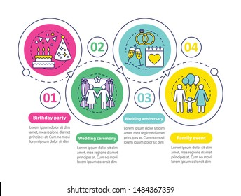 Event management & planning services vector infographic template. Birthday party, wedding ceremony. Business presentation design elements. Process timeline chart. Workflow layout with linear icons