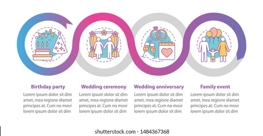 Event management and planning services vector infographic template. Birthday party, wedding ceremony. BData visualization with four steps. Process timeline chart. Workflow layout with linear icons