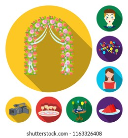 Event Organisation flat icons in set collection for design.Celebration and Attributes vector symbol stock web illustration.