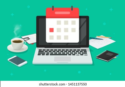 Event planning on calendar date on laptop computer vector illustration, flat cartoon working desk table to organize or manage events, desktop with coffee cup, notepad and laptop
