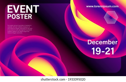 Event poster. Party background. Fluid flow. Futuristic composition. Liquid shapes. Abstract cover design.