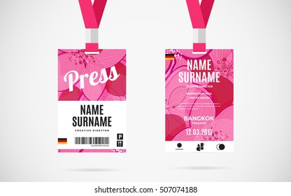 Press Pass Template Stock Vectors Images Vector Art