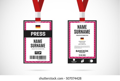 Event Press id card set with lanyard. vector design and text template illustration
