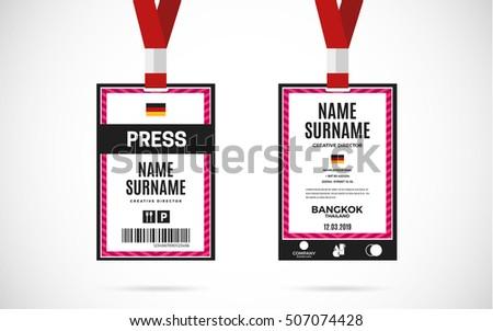 Event Press Id Card Set Lanyard Image Vectorielle De Stock Libre De