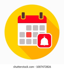 Event reminder icon. Calendar with  bell icon vector, filled flat sign, solid pictogram isolated on white. Agenda reminder symbol, logo illustration