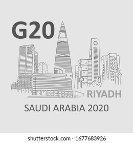 Event in Saudi Arabia G20 town Riyadh, sketch. Summit leaders to be held in Riyadh November 2020. Protection global commons. Responsibility to world for overcoming problems. Vector illustration.