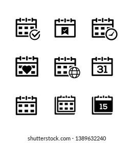 Event schedule calendar icon Black version